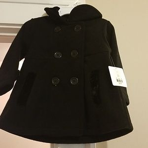 Toddler girls black pea coat/ w hat